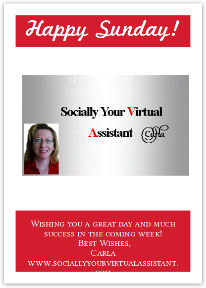 Happy Sunday by Socially Your Virtual Assistant, Carla