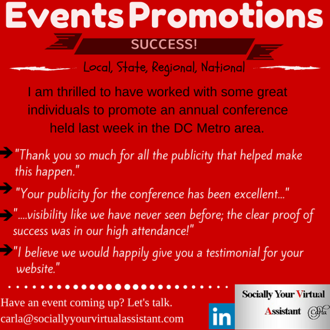 Events Promotions by Socially Your Virtual Assistant, Carla